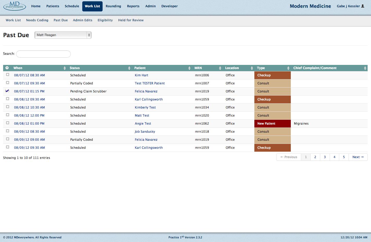 Claim status dashboard