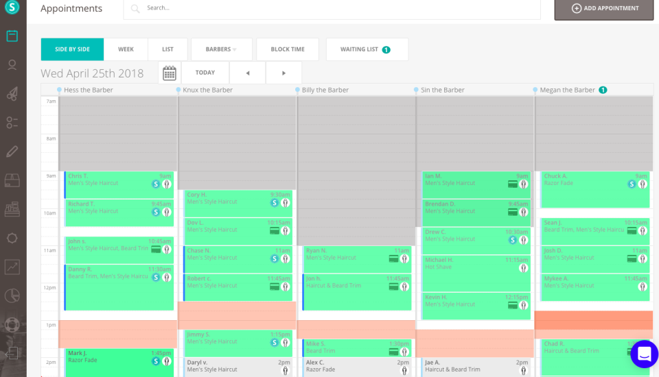 Manage scheduling for appointments, walk-ins and calls per barber
