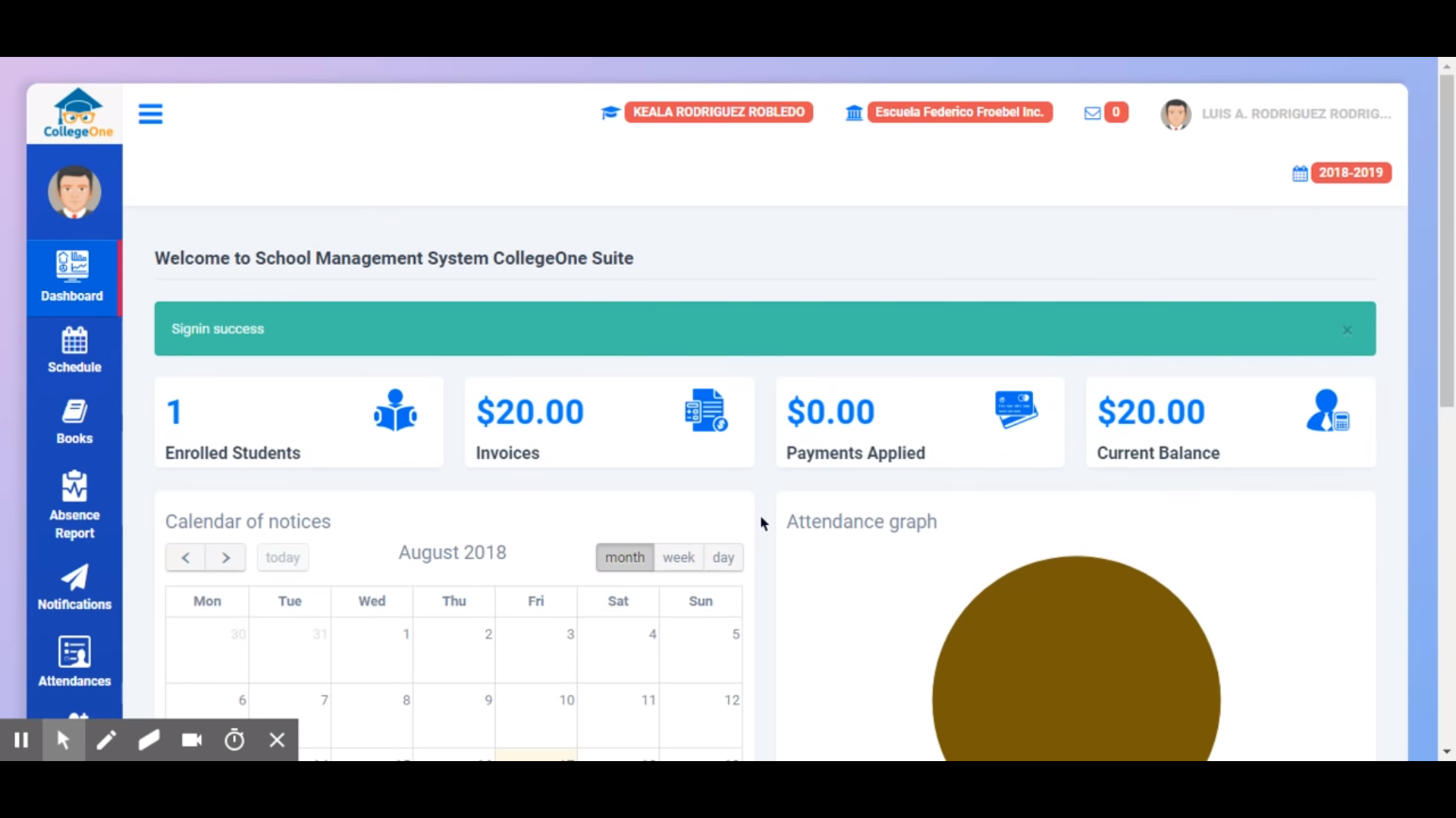 CollegeOne dashboard