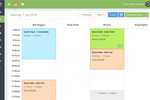 Ovatu Screenshot: Scheduled appointments are displayed in the group calendar, organized by staff member and color coding
