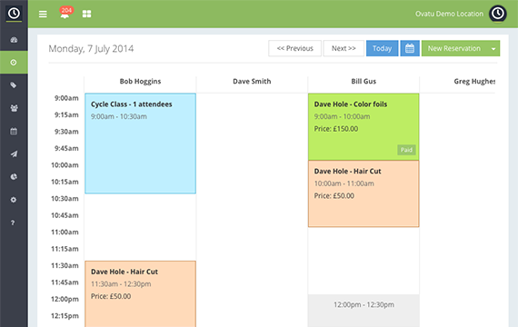 Scheduled appointments are displayed in the group calendar, organized by staff member and color coding