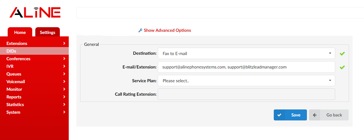 Aline fax to email setup