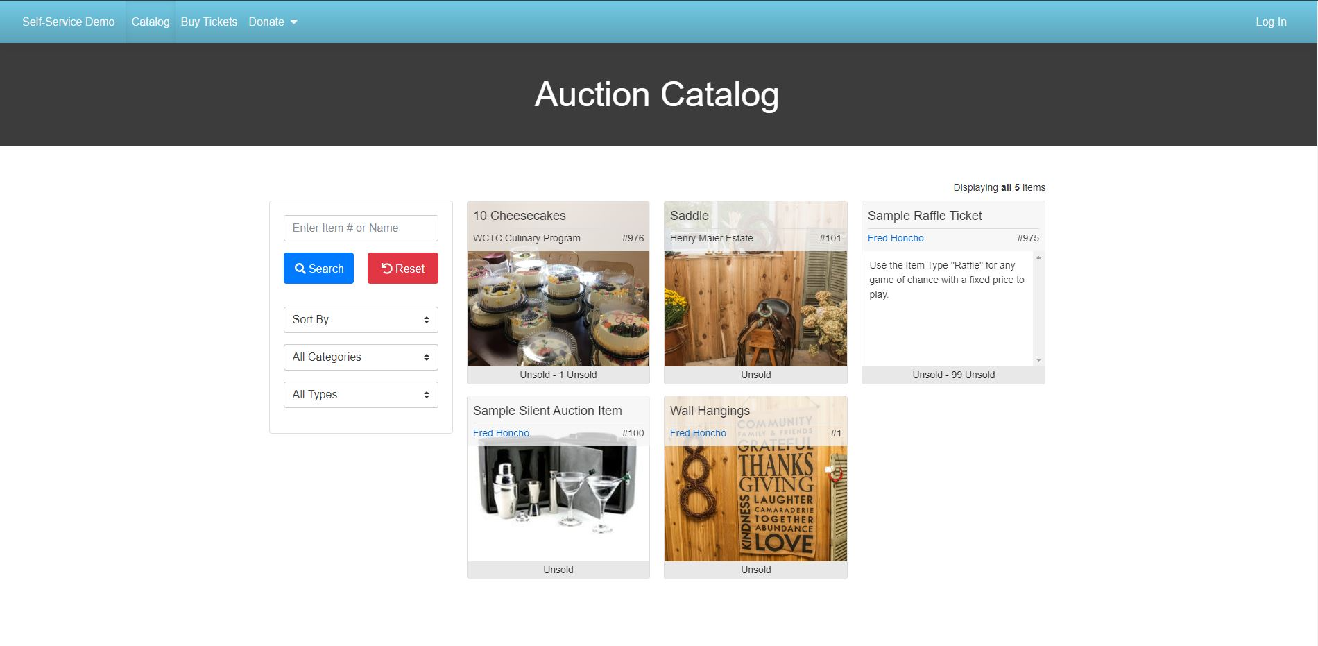 Tip Top Auction catalog management