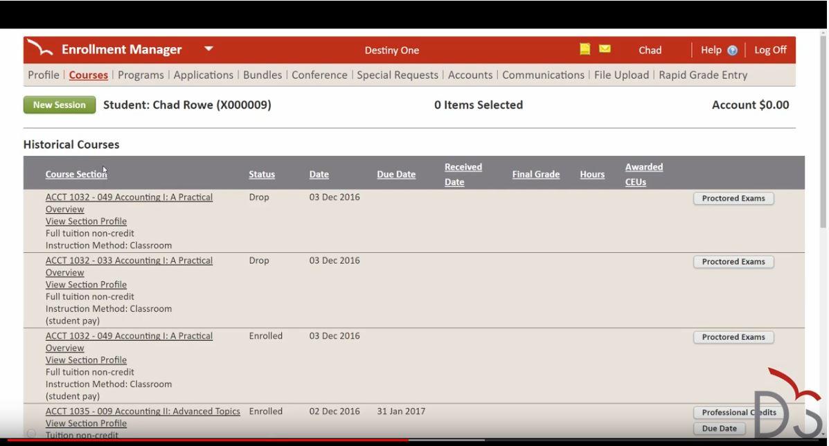 Destiny One enrollment manager screenshot