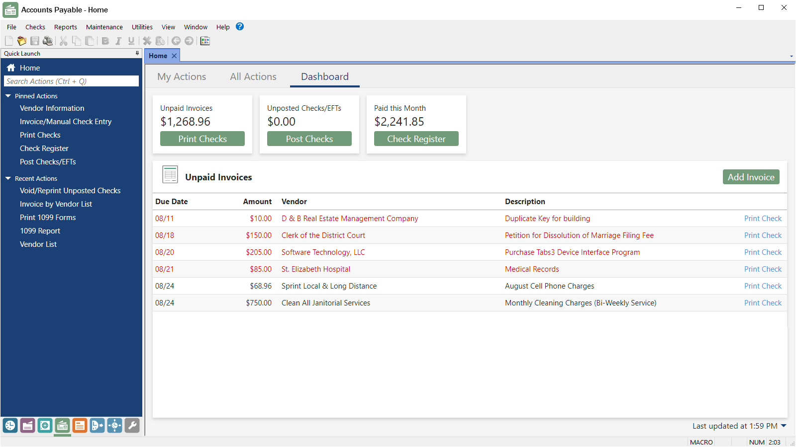 Tabs3 Financials Accounts Payable Dashboard