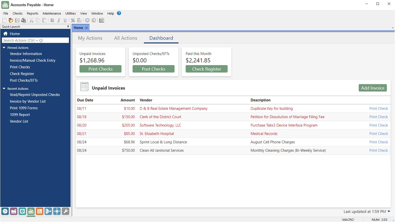 Tabs3 Financials Accounts Payable Dashboard