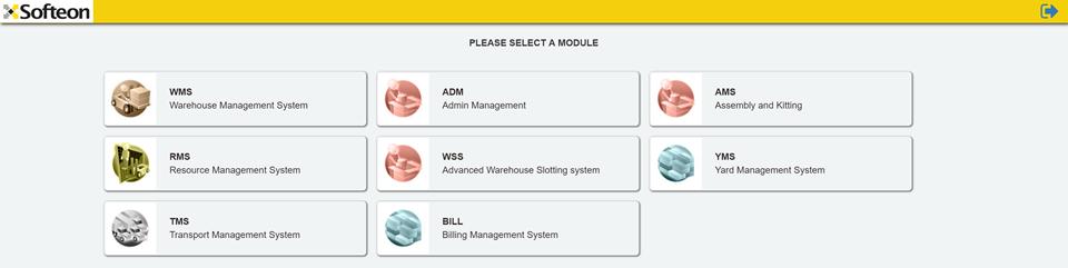 Softeon Warehouse Management System (WMS) Software - Module Selector
