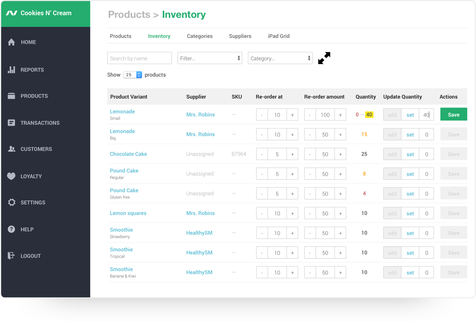Track inventory and process re-orders when necessary
