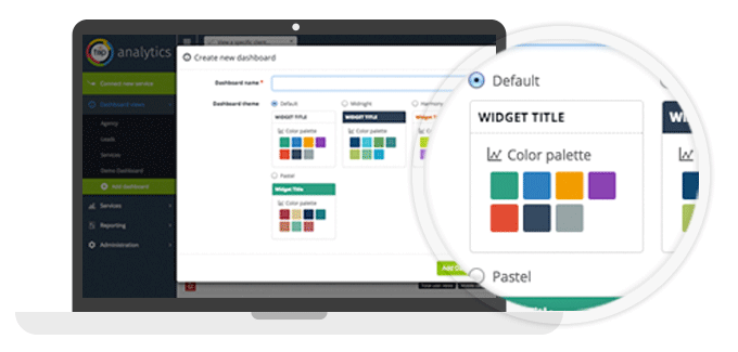 TapClicks Software - Configure widgets and color themes with TapAnalytics