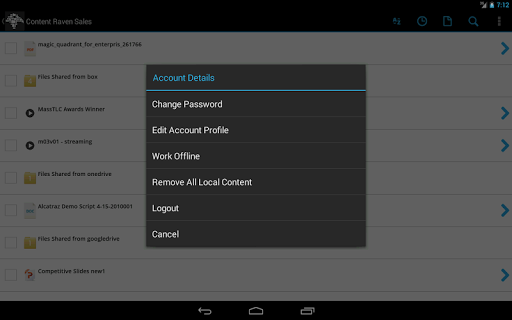 Users can change passwords, edit profiles, logout and more in account details