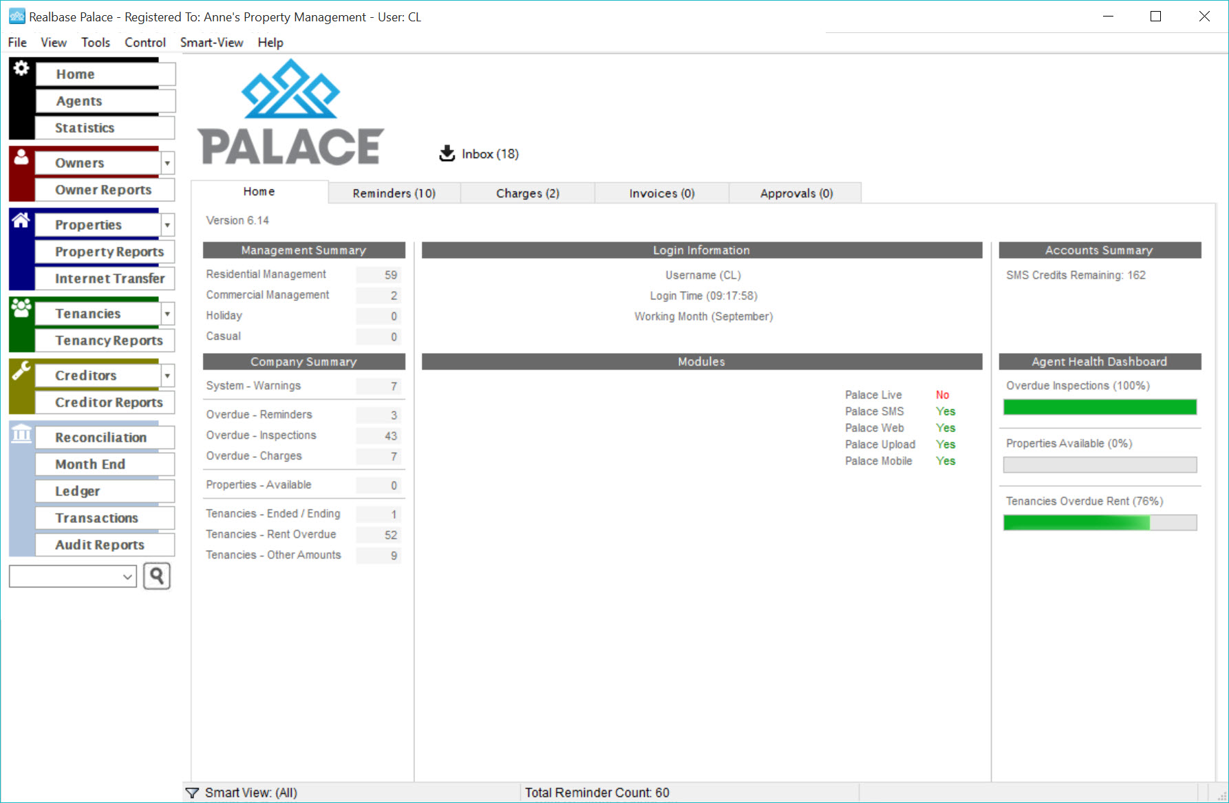 Palace Software - Dashboard view