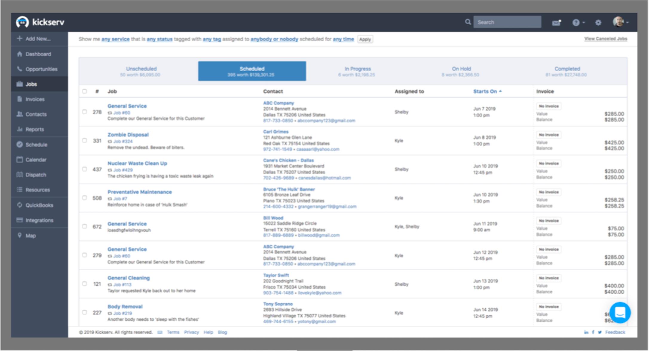Kickserv Software - Job management