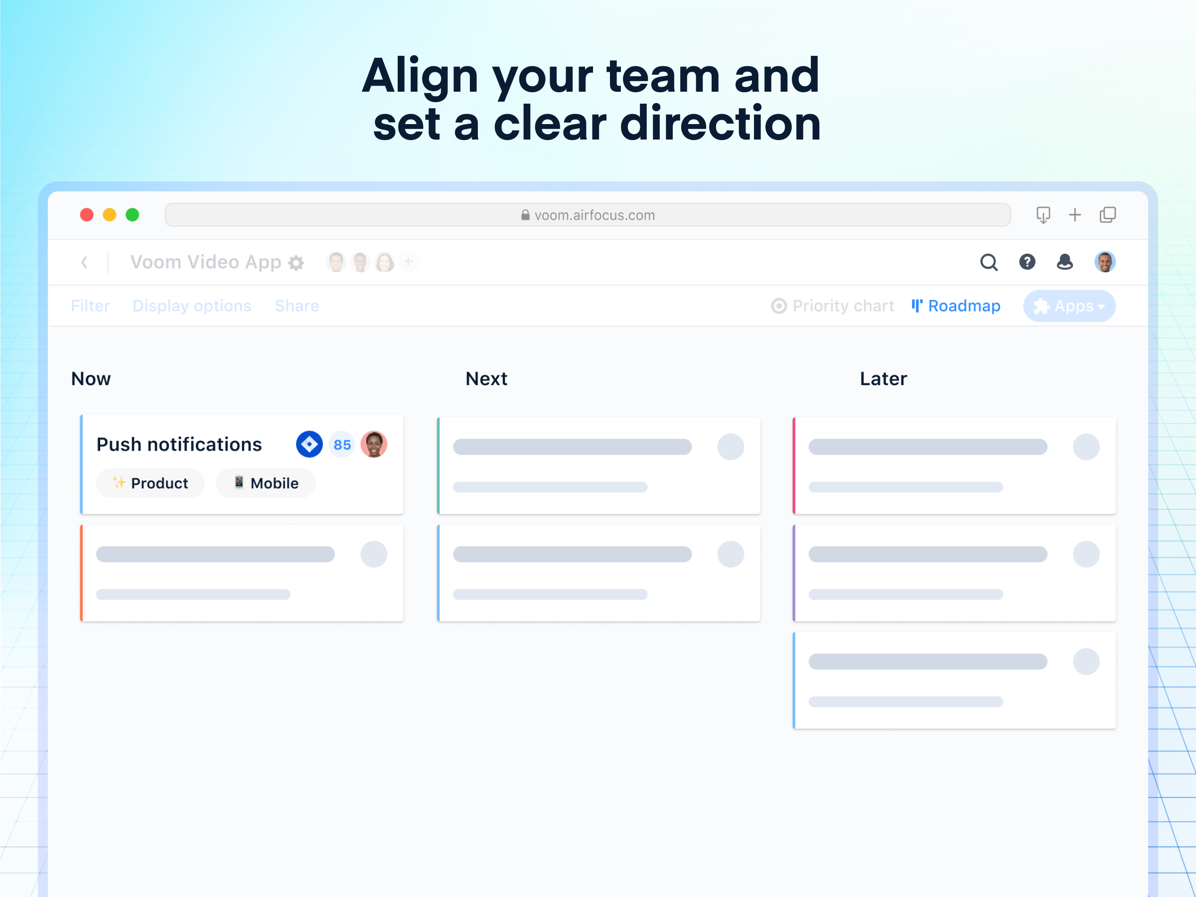 airfocus Software - Align your team and set a clear direction: Build dynamic and strategic, lean roadmaps with ease.  Focus on outcomes with team objectives that help you solve the right problems.
