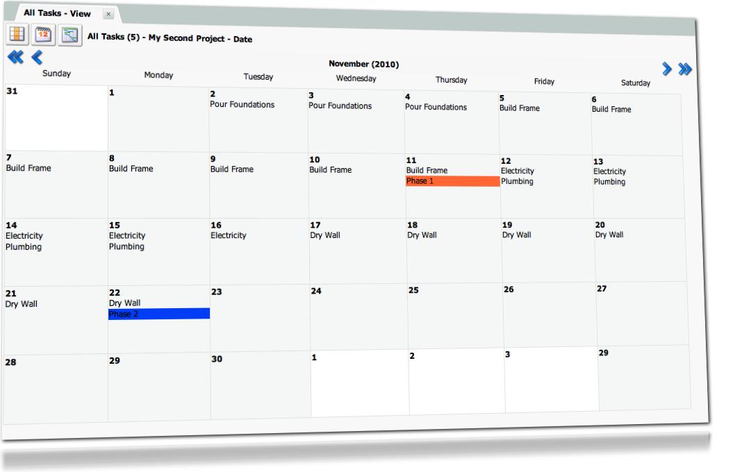 Project Drive Software - Calendar view