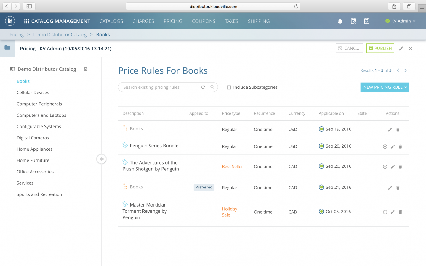 The pricing management system allows users to create a range of pricing rules