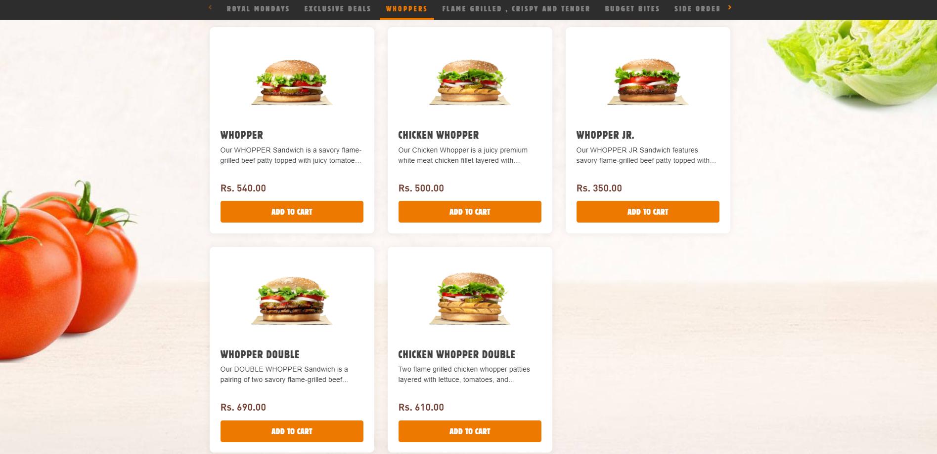 Burger King Pakistan - Ordering Website powered by Blink