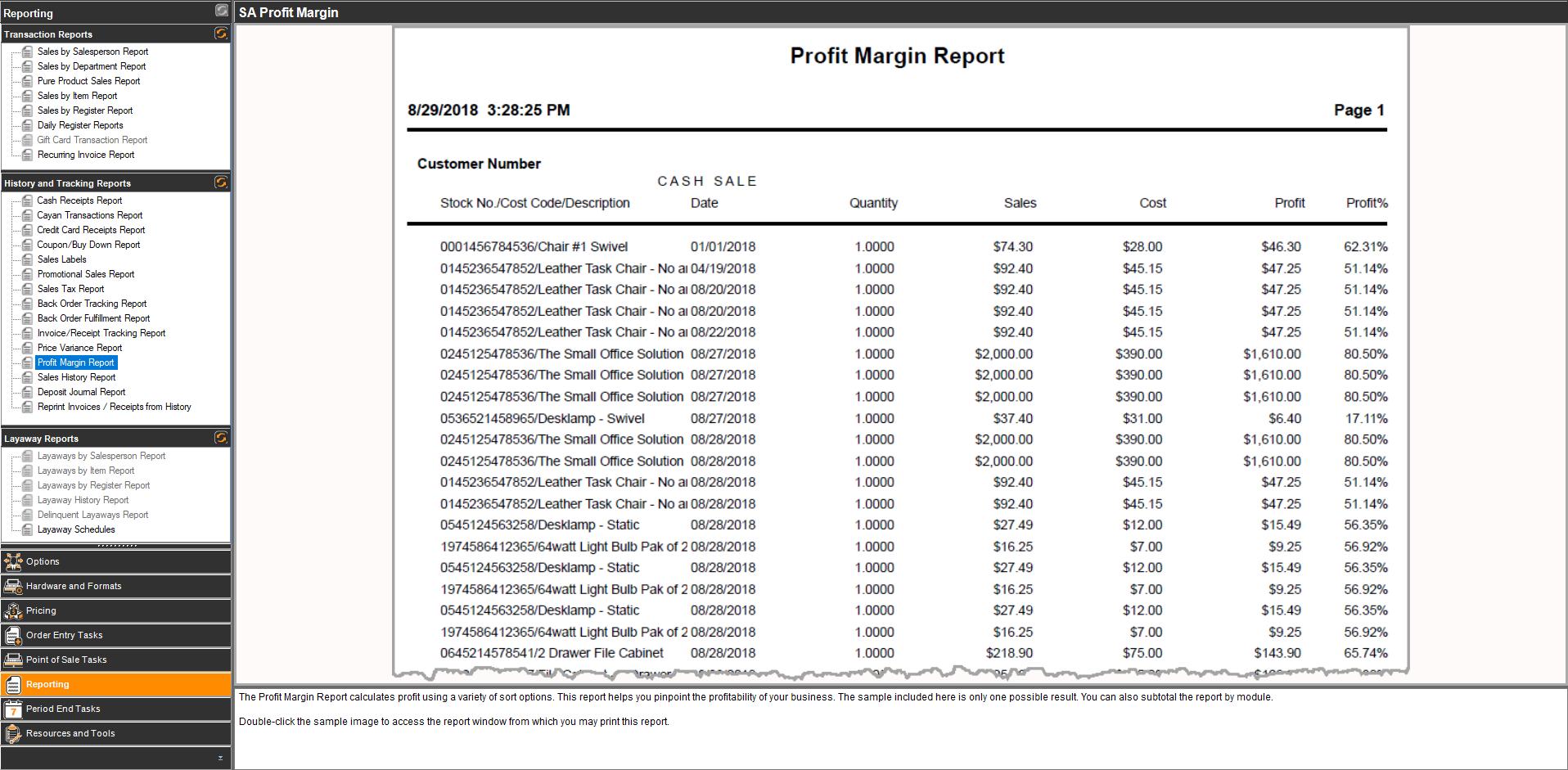Denali Business Software - Sales Profit Margin Report