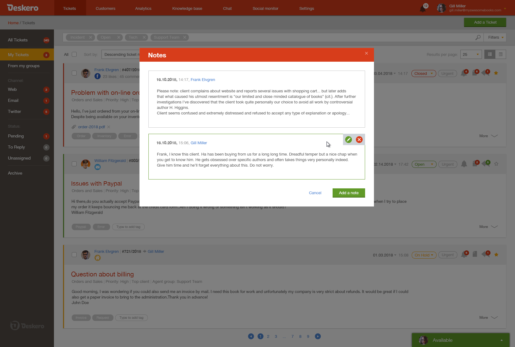 Add notes to your tickets to share internal information with other agents