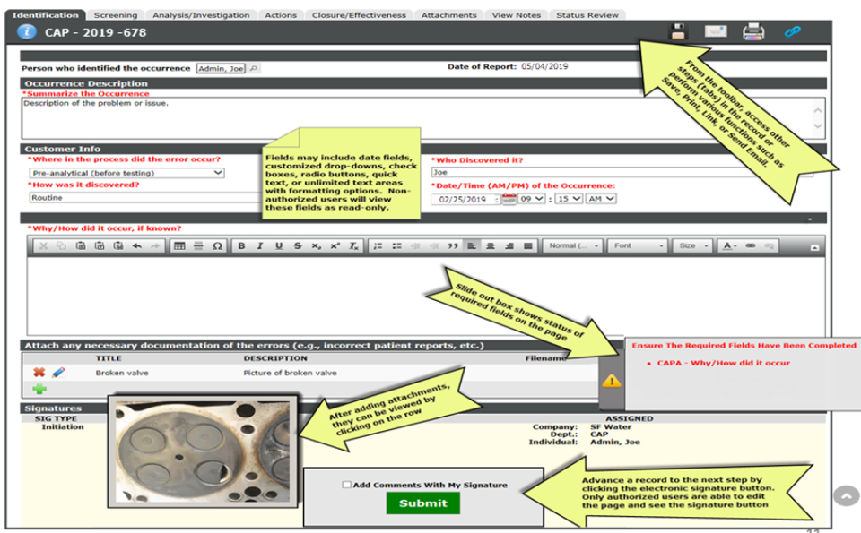 BPI System Software - Record Entry – Users are prompted to add both required (red) and non-required info.  Pictures, documents, videos, and any type of files can be attached. Dynamic Forms change dependent of how questions. Totally customizable to your companies growing needs.