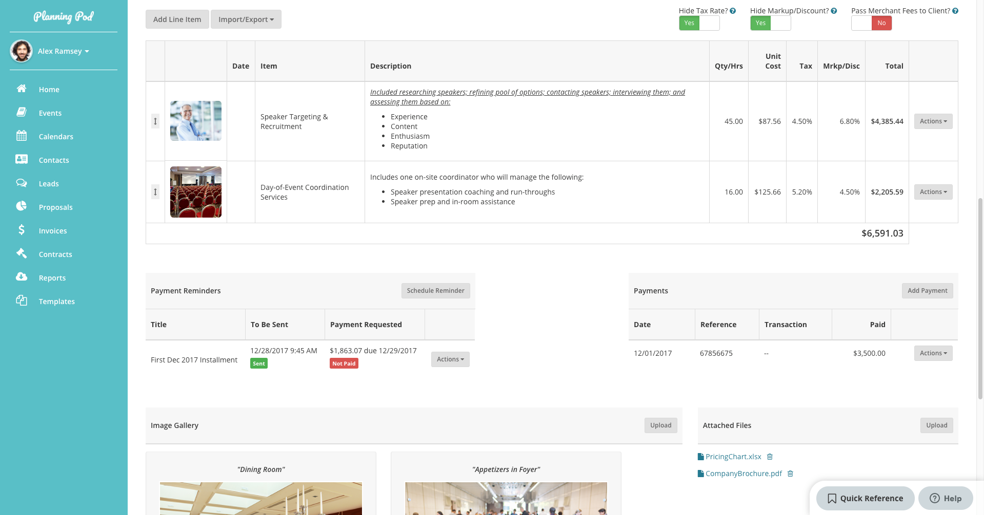 Planning Pod Software - Planning Pod invoicing and payments