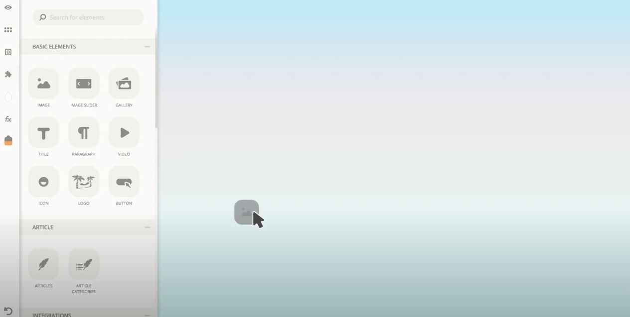 Ucraft drag-and-drop interface