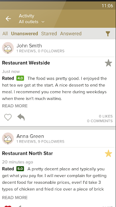Zomato for Business respond to customer reviews