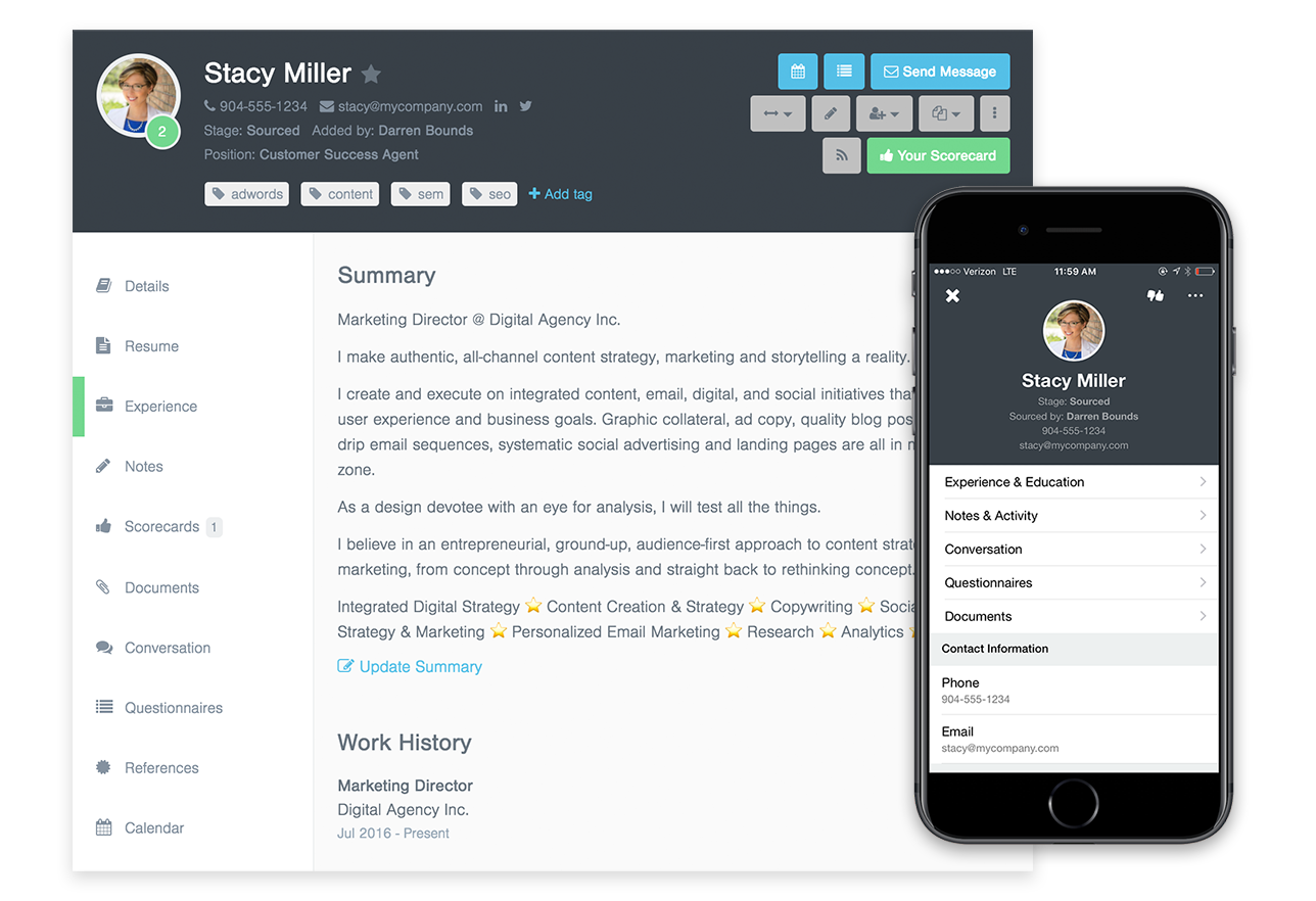 Breezy Software - Clean, comprehensive candidate profiles