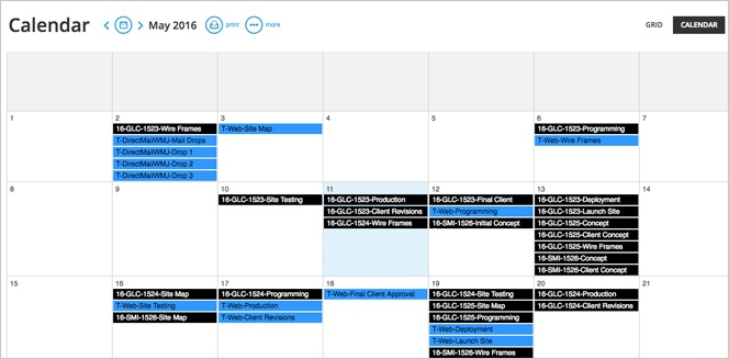 Create a real-time calendar of project deadlines