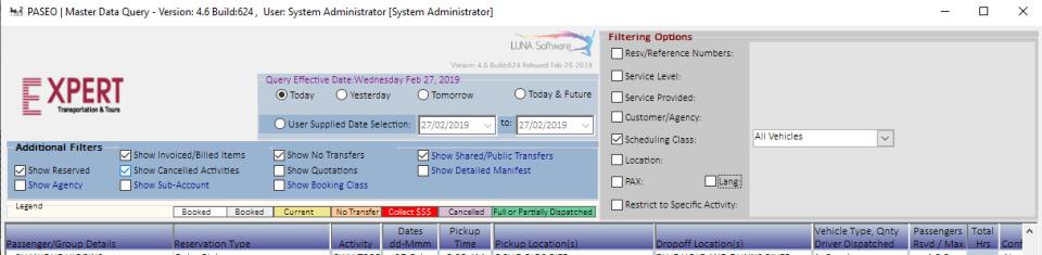 PASEO Software - PASEO: master data query screenshot