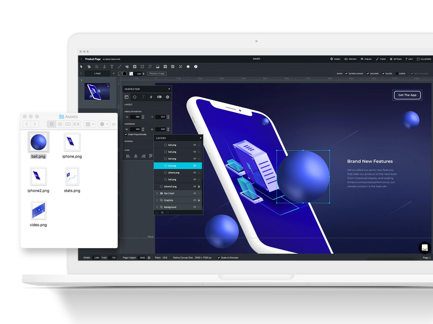 Ceros screenshot: Drag and drop assets from your desktop into the Ceros studio.