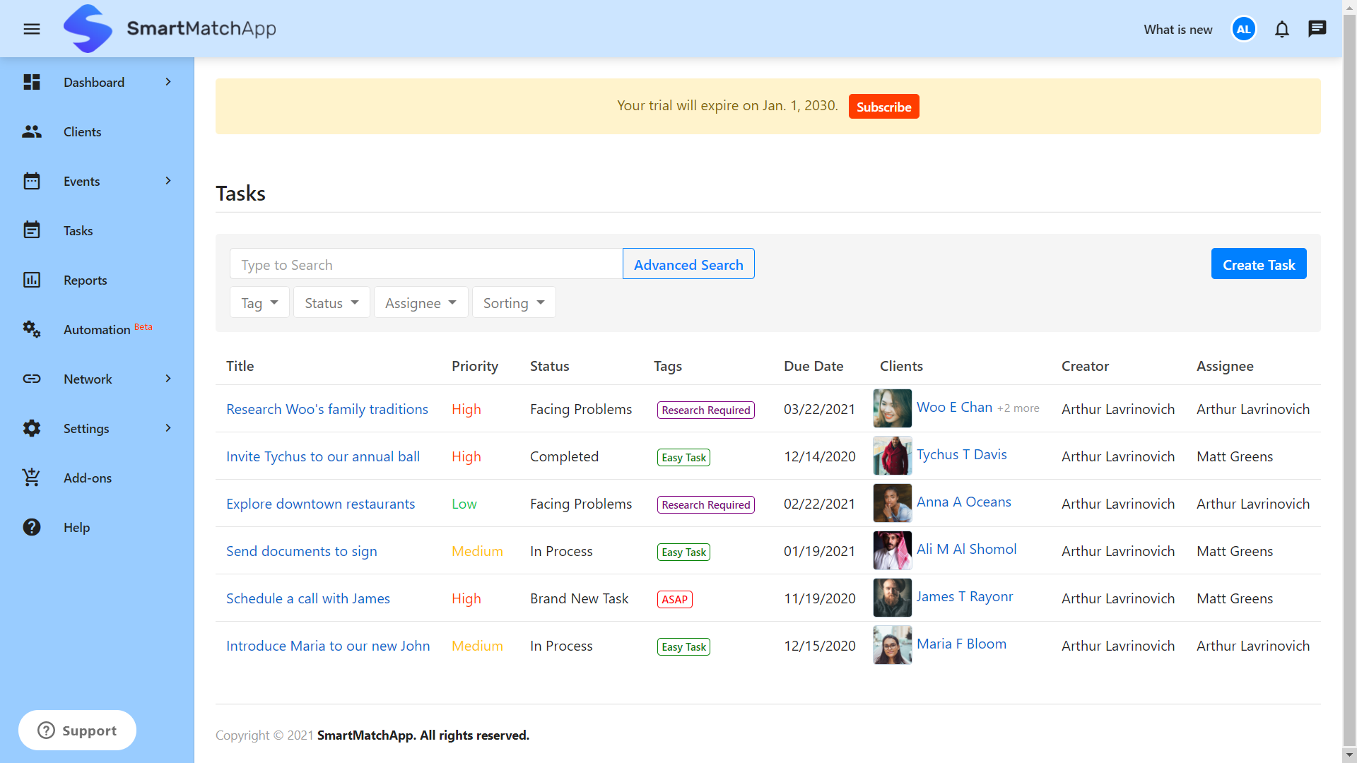 SmartMatchApp Smart Tasks Project Management Tools
