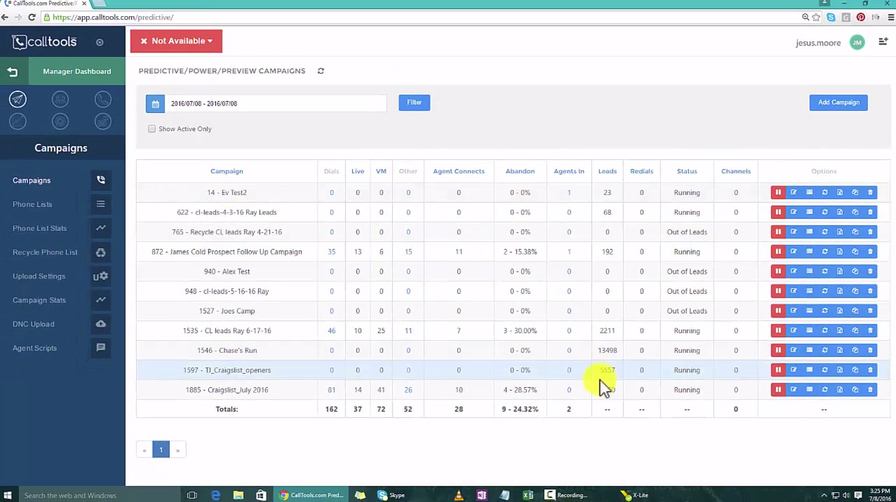 Add new campaigns from the manager dashboard