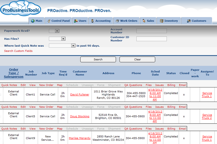 ProBusinessTools showing sales search results