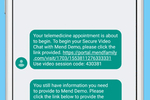 Mend screenshot: Requiring no special software or installation, patients need only click a link from a text message or an email to connect