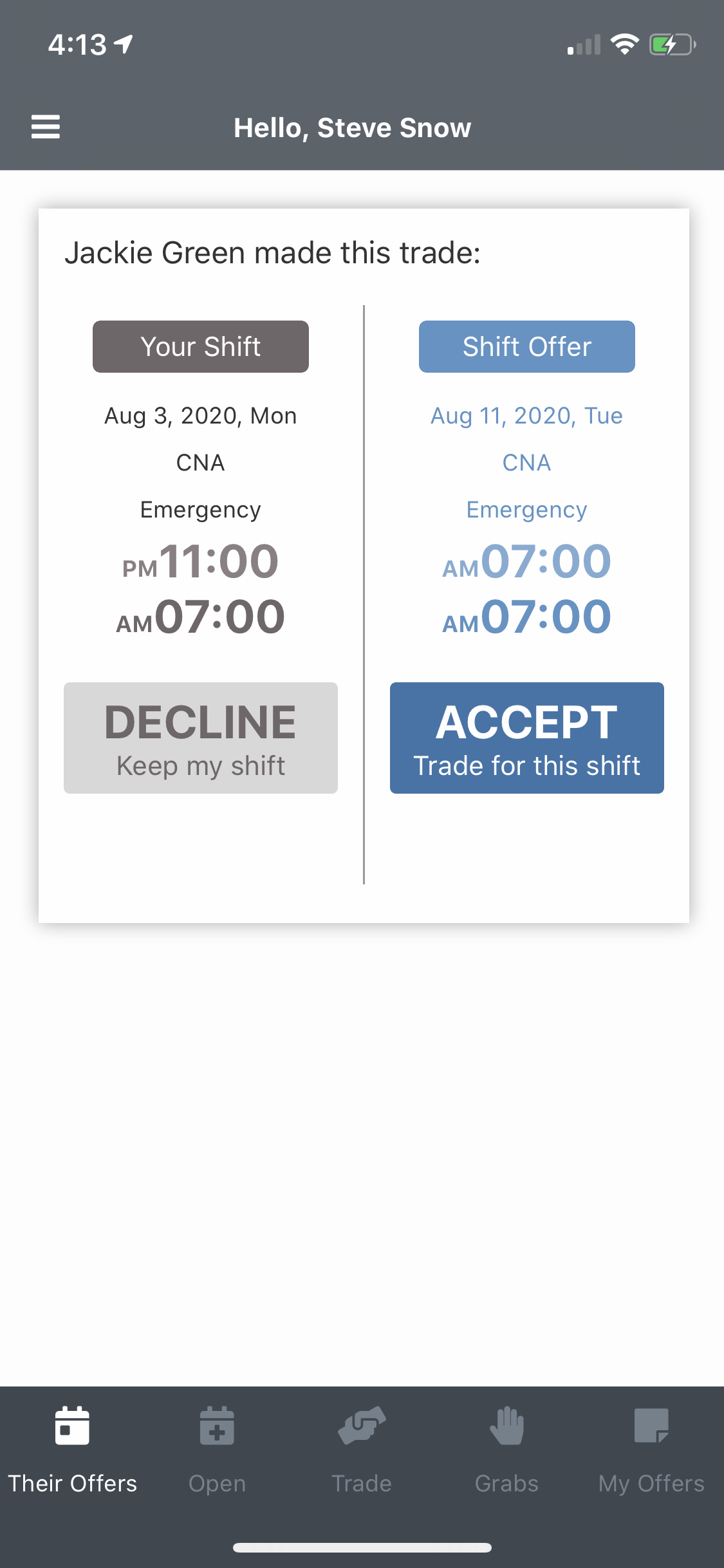 EasyShifts Software - Coworkers can perform their own trades right in the app