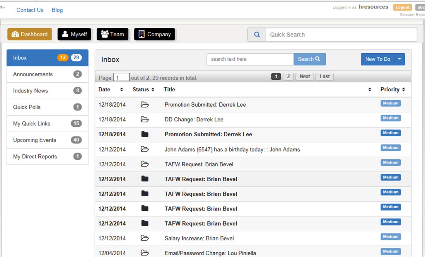 Toast Payroll & Team Management Software - Inbox