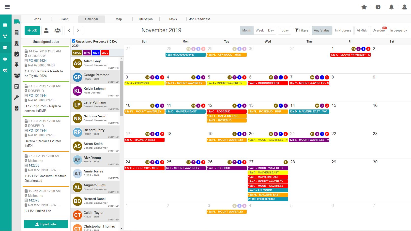 Intelligent Operations Platform screenshot: Assign your own colours based on your planners, work types or resources