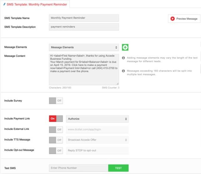 DCDial custom SMS template
