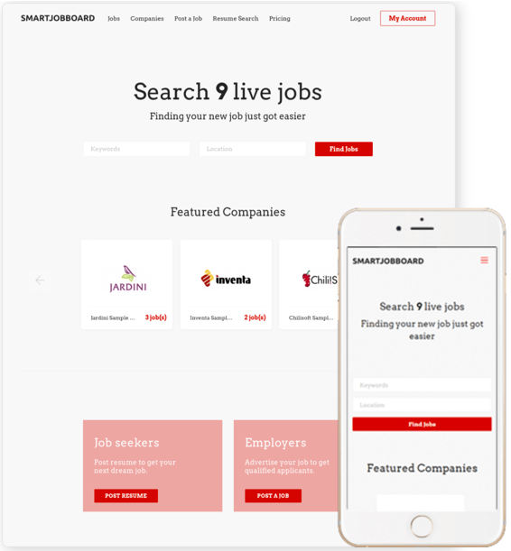 Applicants can search for jobs based on location or keywords