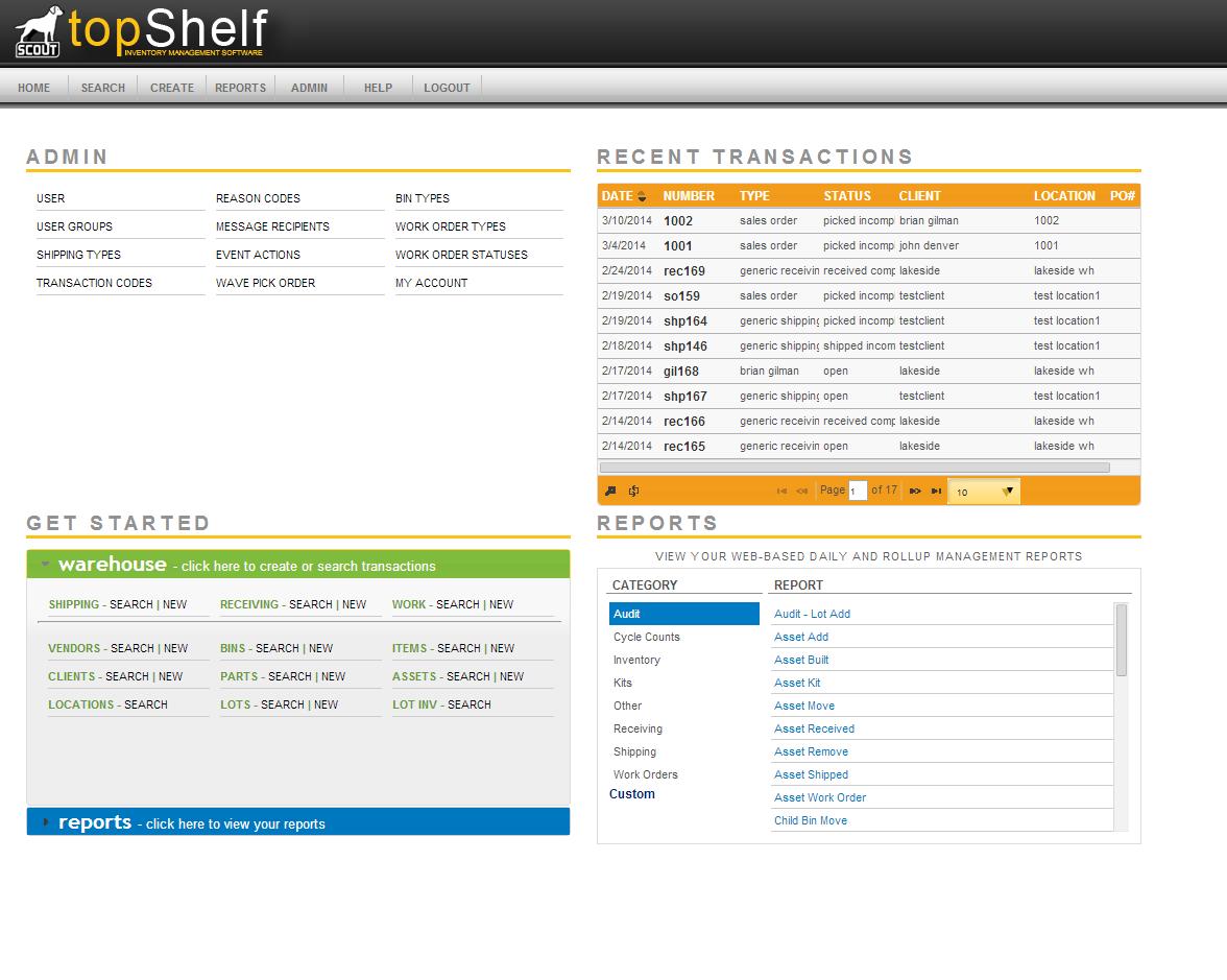 TopShelf Inventory Management Software - Main admin