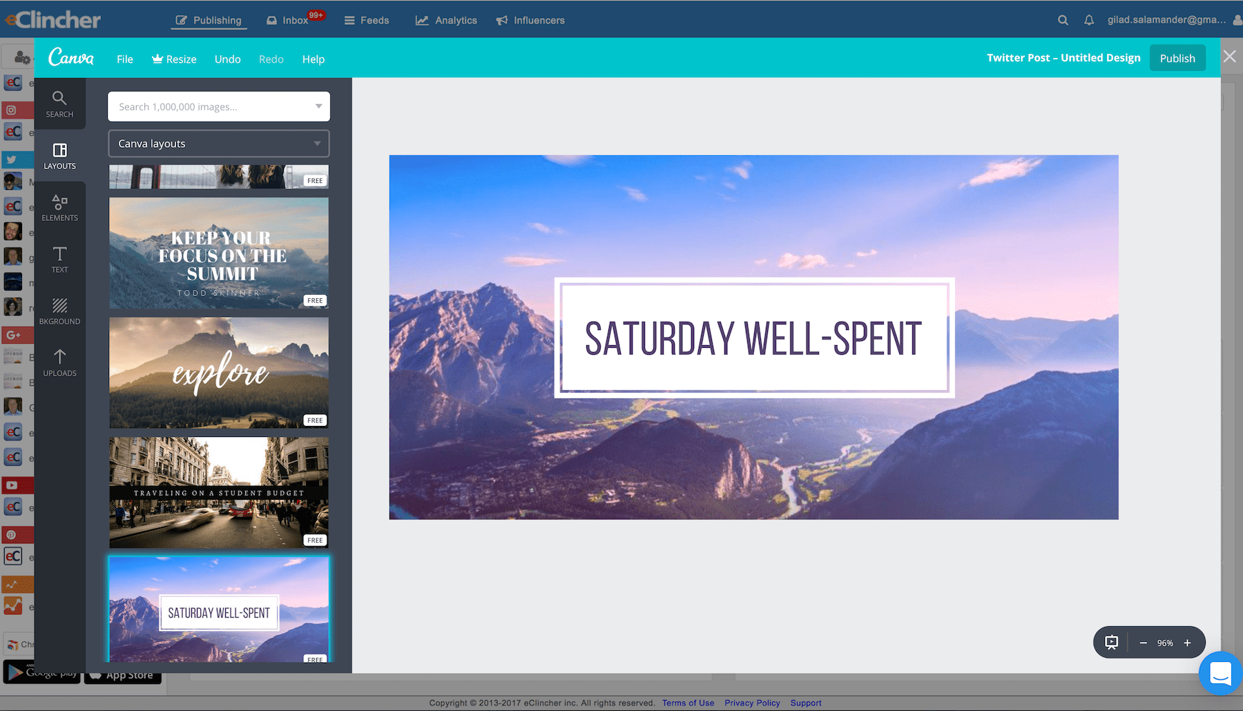 eClincher Software - eClincher integrates with Canva, allowing users to create custom images for their social posts