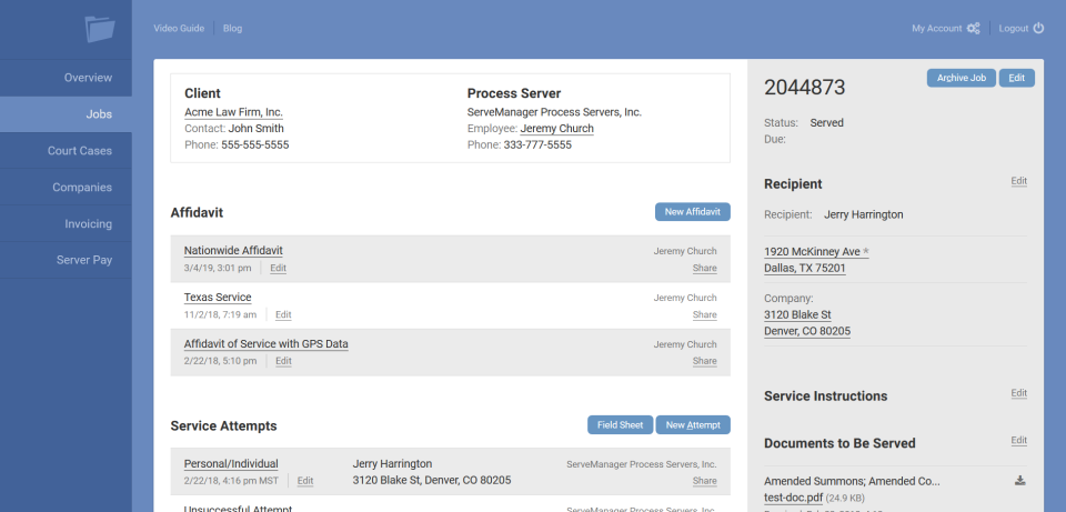 ServeManager jobs