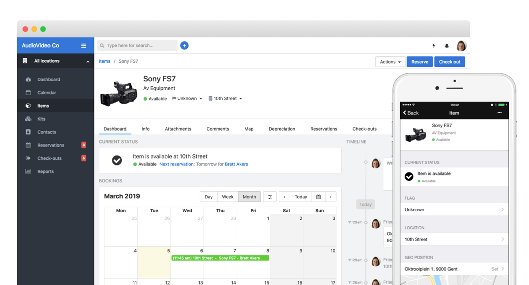 Review bookings by day, week or month, and integrate with iCal