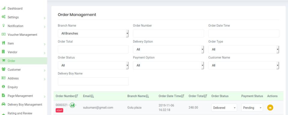 TagMyOrder order management dashboard