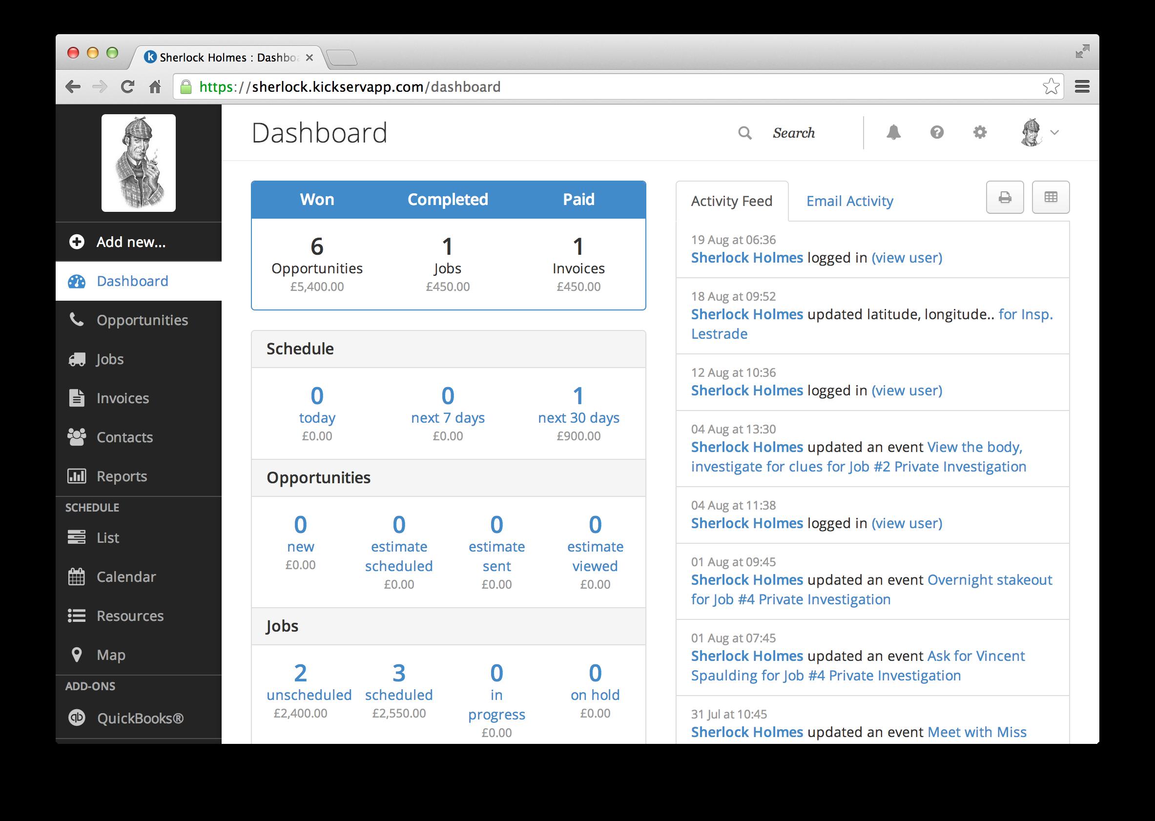 Kickserv screenshot: Dashboard