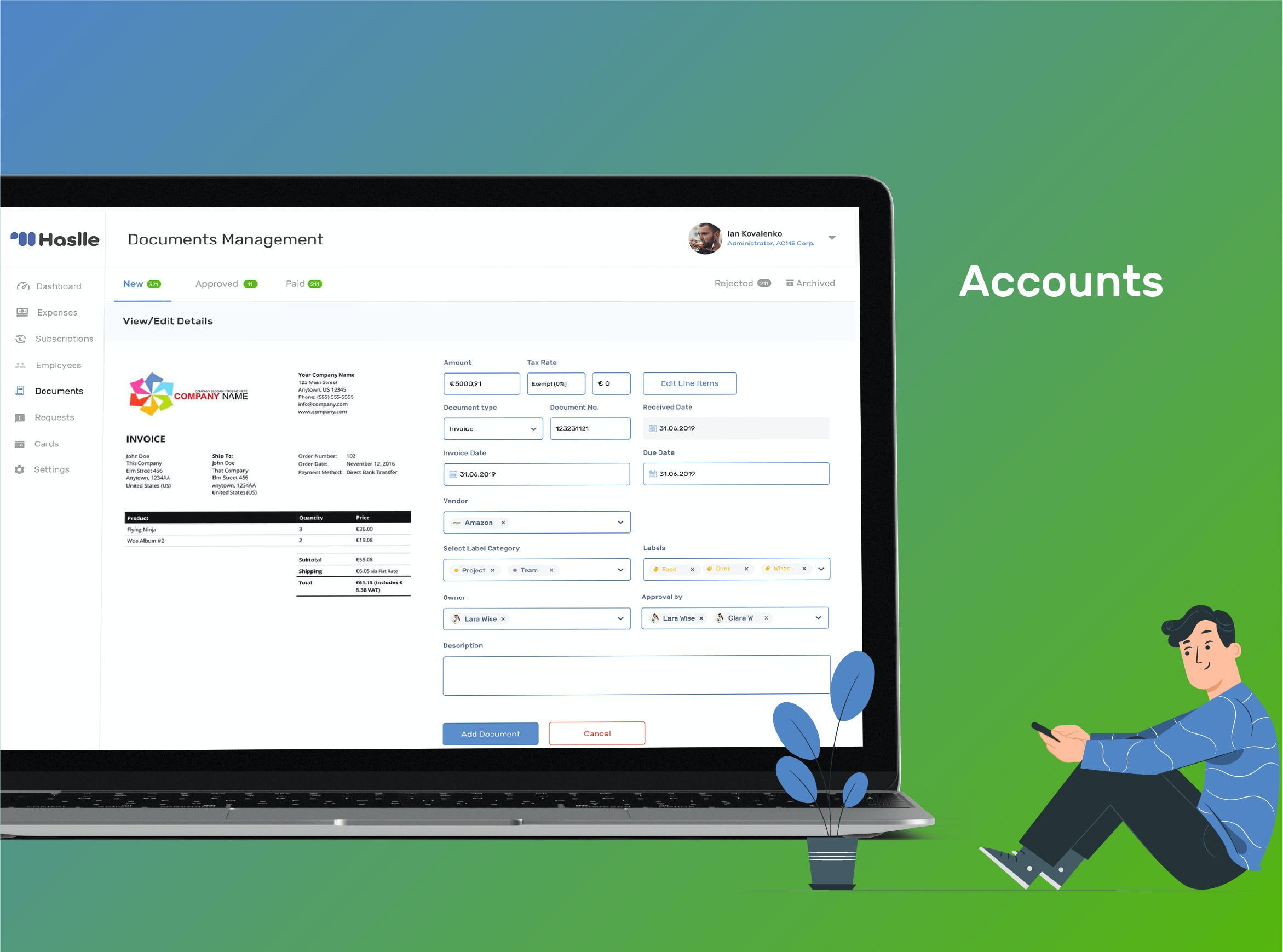 Haslle Software - Accounts manageable for team, employees and managers