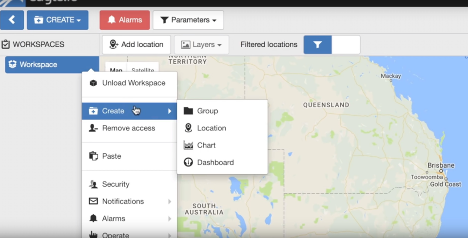 Eagle.io screenshot: Eagle.io environmental IoT UI