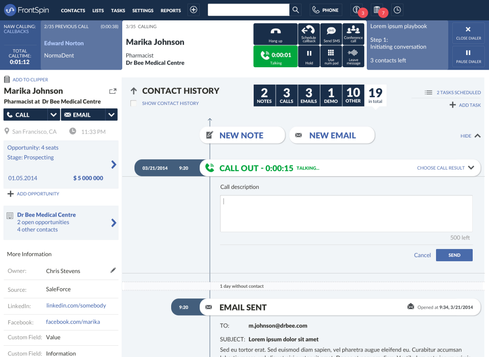 FrontSpin screenshot: Contact leads directly from FrontSpin