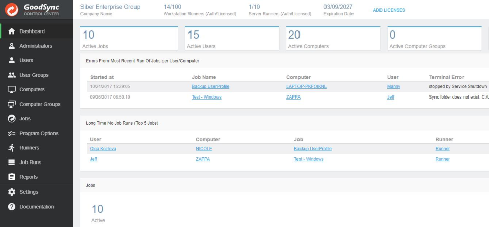 GoodSync screenshot: Dashboard