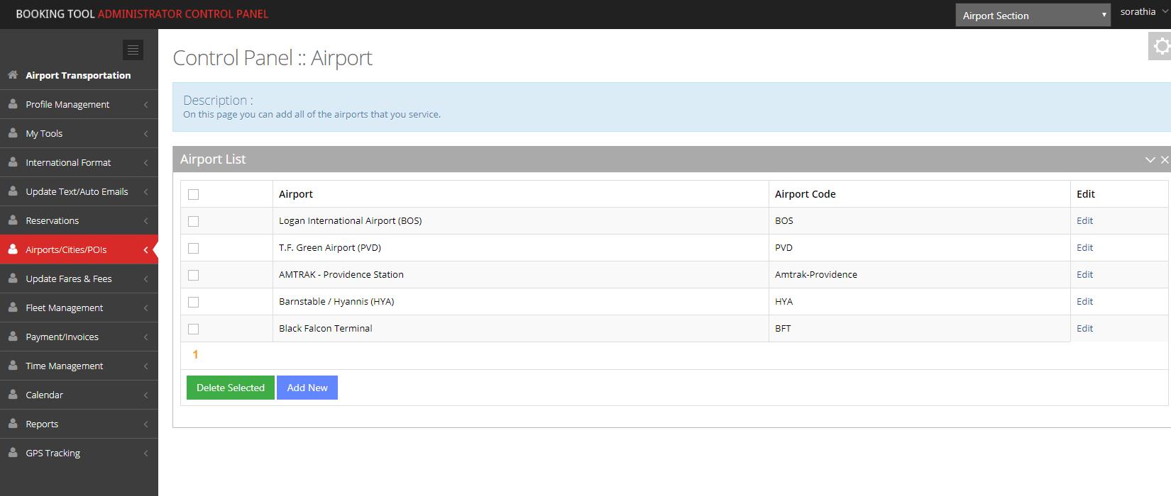 The Booking Tool control panel screenshot